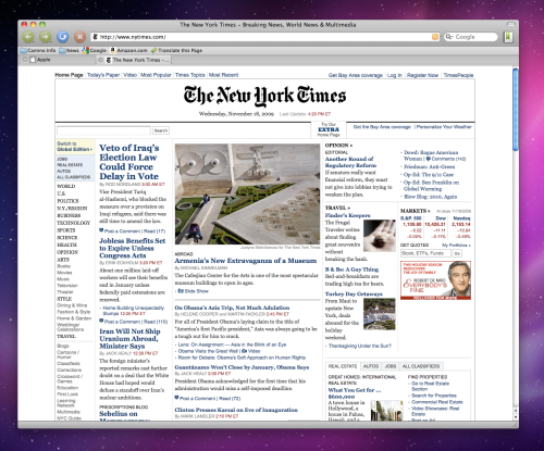 Camino viewing the NY Times.